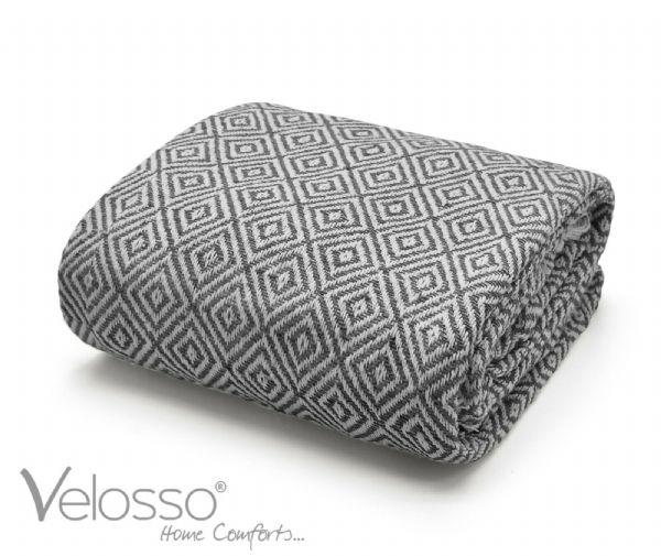 100% Pure Cotton Throw Luxury Diamond Woven Check Sofa Bed Throwover Grey